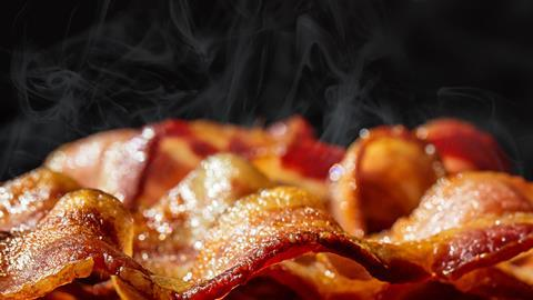 Close up of cooked bacon