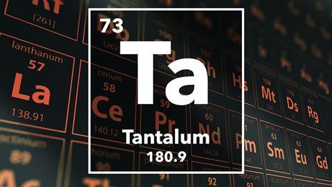 Periodic table of the elements – 73 – Tantalum