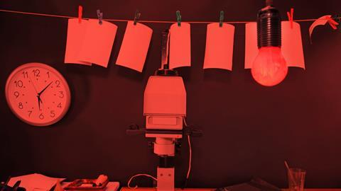 Photographic dark room in red light