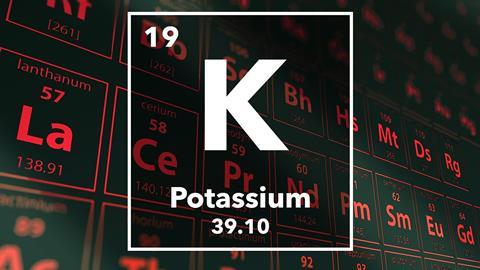 Periodic table of the elements – 19 – Potassium