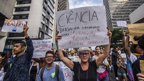 An image showing protesters against scientific budget cuts in Brazil