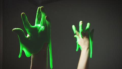 Hand with green slime