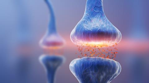 Neurotrasmitter across a synapse