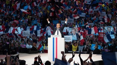 Emmanuel Macron on the campaign trail