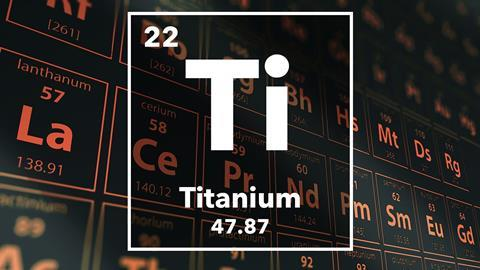 Periodic table of the elements – 22 – Titanium