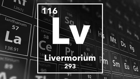 Periodic table of the elements – 116 – Livermorium