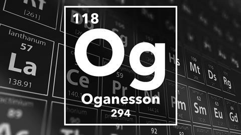 Periodic table of the elements – 118 – Oganesson