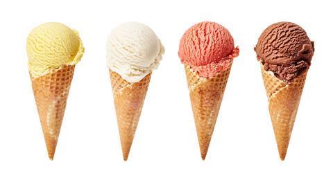 Four ice cream cones