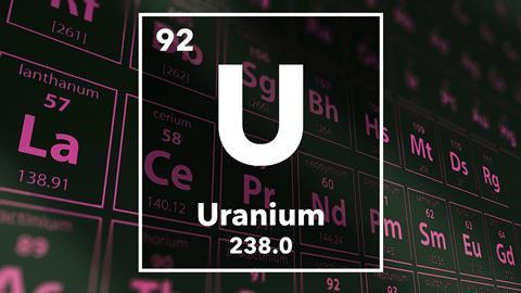 Periodic table of the elements – 92 – Uranium