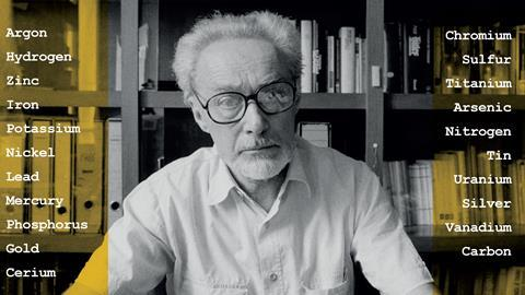 A photograph of Primo Levi; the tile of the chapters in his book, The Periodic Table, are written around him