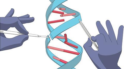 Illustration of surgically editing a strand of DNA