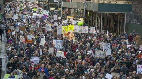 Protesters in New York demonstrating against Trump's immigration ban
