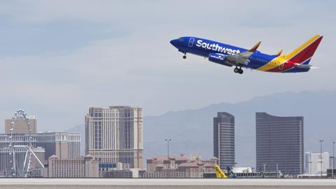A Southwest Airlines Boeing 737-7H4(WL) takes off from McCarran International Airport in Las Vegas