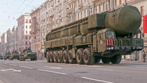 RS-24 Yars (SS-27) intercontinental ballistic missile on parade