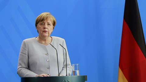 German Chancellor Angela Merkel at a press conference after a meeting with the Ukranaian Prime Minister in the Chanclery