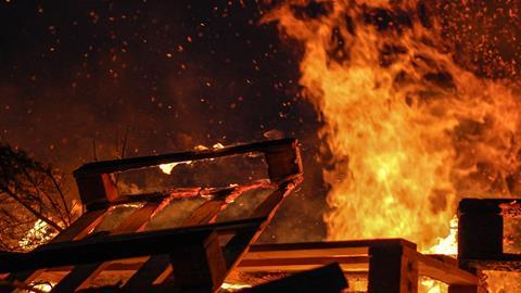 A picture showing burning wood
