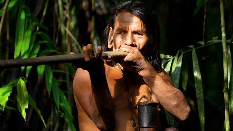 Huaorani hunter using a traditional blowpipe