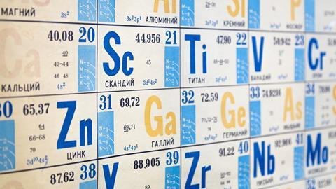 Old Russian periodic table