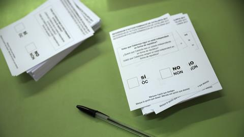 Ballot papers for independence referendum taking place in Catalonia