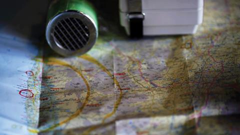 Map and Geiger counter