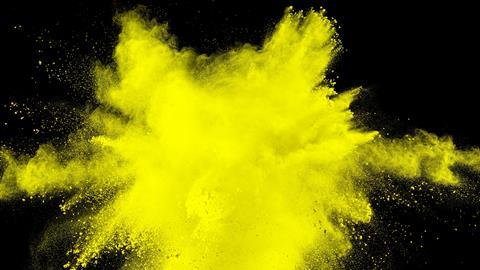 Yellow powder splash