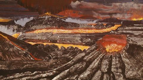 C0112027 Prehistoric volcanoes artwork