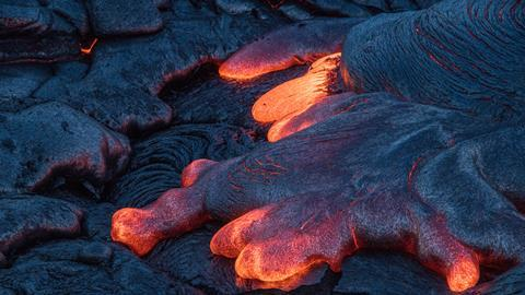 A picture showing molten lava
