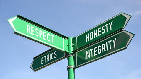 A picture of a respect, honesty, ethics, integrity signpost
