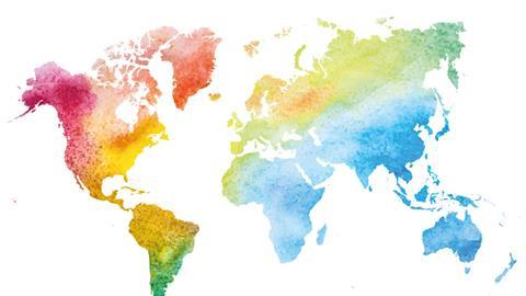 Coloured map of the world
