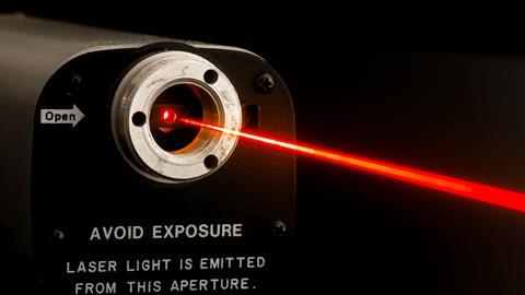 A lab laser with warning label