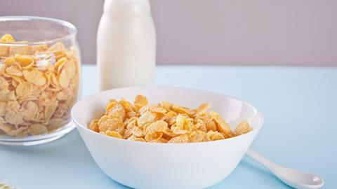Bowl of dry cereal on a table