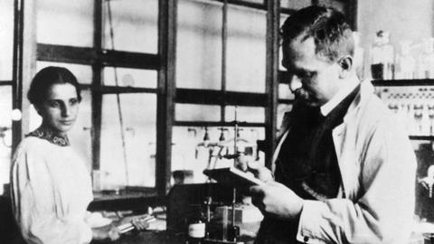 Lise Meitner and Otto Hahn in their Dahlem laboratory, Germany, in 1913