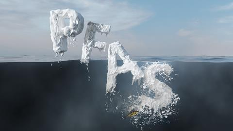 An image showing the letters P, F, A and S, which stand for perfluorinated alkyl substances, sinking into water; a small fish can also be seen