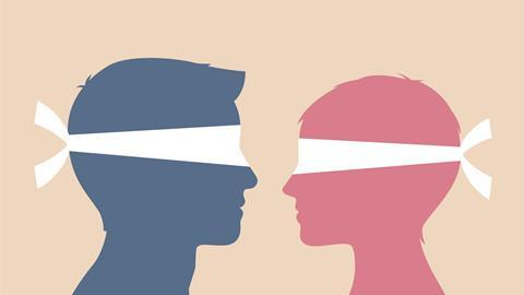 An illustration of two blindfolded people