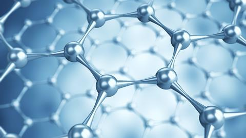 3D illustration of Graphene atomic structure - nanotechnology background illustration