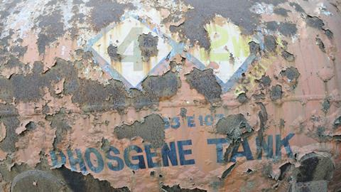 A rusty tank with phosgene written on it