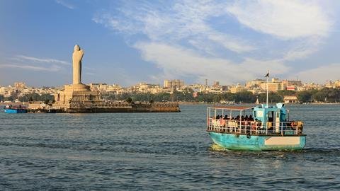 Lake Hussain Sagar and Hyderabad city skyline, Hyderabad, India