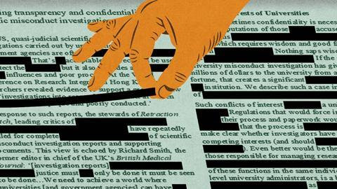 An illustration showing a hand redacting text