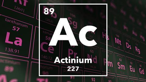 Periodic table of the elements – 89 – Actinium