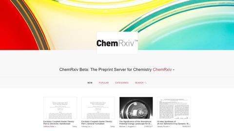 Screenshot of homepage of ChemRXIV story hero