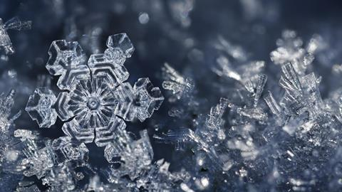 A close up image of snowflakes