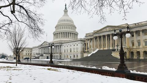 A picture showing the US Capitol in the snow