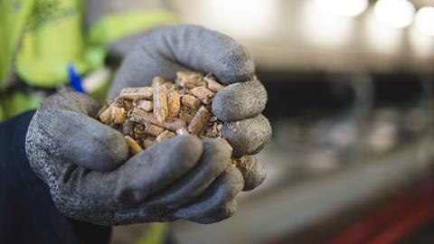 A picture of  compressed wood pellets