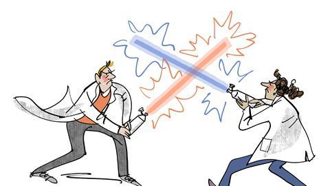 An illustration depicting fumehood wars