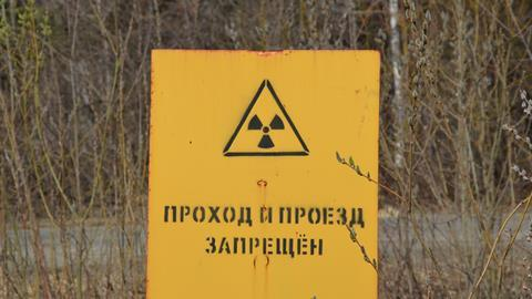 """Radiation warning sign reading """"Walk in and drive in forbidden"""", Mayak nuclear reprocessing plant, Chelyabinsk, Russia"""