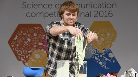 Ben Stutchbury – 2016 Chemistry World science communication competition winner, making slime