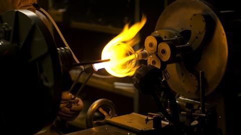 Glass blower Stan Sheldon at University of California, Riverside in 2013