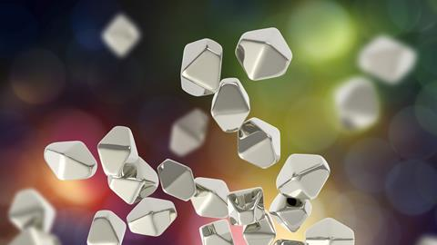 Titanium dioxide crystals against a colourful background