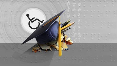 A conceptual image showing the disability icon ascending on a slope formed by a graduation hat; the Braille alphabet and the alphabet in sign language can be seen on the background