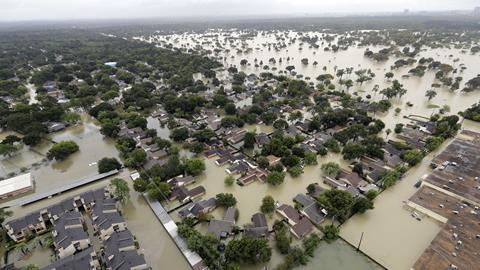 Aerial view of flooding in Houston, Texas after hurricane Harvey